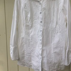 SoftSurroundings White Tunic Length Button-Up